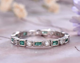 Diamond & Baguette Emerald Wedding band,14k White Gold,Art deco Marquise,Anniversary ring,Promise,Full Eternity,Stackable Band,Gift for her