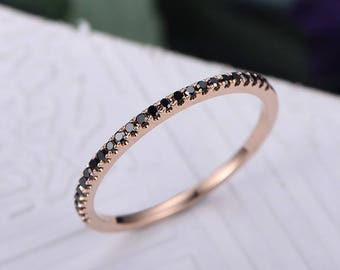 Half Eternity Black diamond Wedding band,14k rose Gold,Round Cut band,Anniversary ring,Promise ring,Stackable,Pave Set,Gift for her