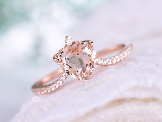7mm Round Cut Morganite Engagement Ring,14k Rose Gold,Special Cut,Anniversary ring,Promise ring,Art deco,Eternity,Petite Pave,Gift for her