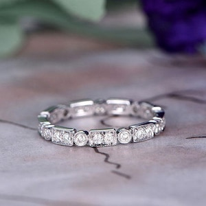Full Cut Diamond Wedding band,14k White Gold,6mm open gap band,Anniversary ring,Promise ring,Half Eternity,Stackable,Pave Set,Gift for her