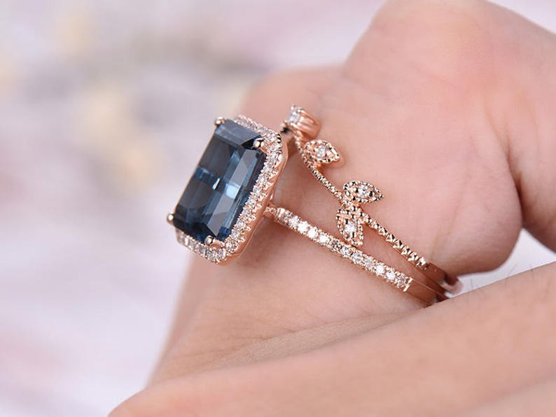 8x10mm Emerald Cut London Topaz Engagement Ring,14k Rose Gold,Anniversary ring,Promise ring,Pave Set,Prong,Art Deco Leaf,Prong,Gift for her