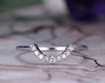 Art deco Wedding band,14k White Gold,Anniversary ring,Promise ring,Curved U Shape,Plain Band,Bridal matching band,Crown shape.Gift for her