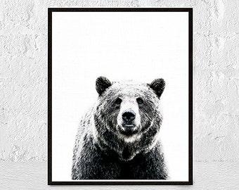 Bear Print, Woodlands Nursery Animal, Printable Poster, Nursery Decor Wall Art, Kids and Babies Room, Digital Download