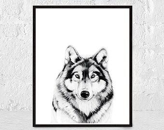 Wolf Print, Forest Animal, Wolf Poster, Woodlands Nursery Animal Wall Art, Nursery Wolf, Printable Art For Nursery, Baby Woodland Best Decor