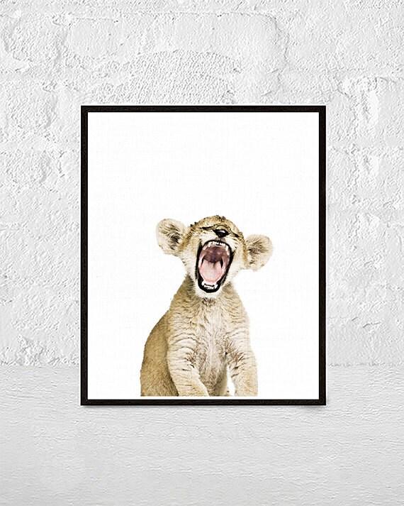 León Cub imprimir pared arte vivero Decor Animal Safari | Etsy