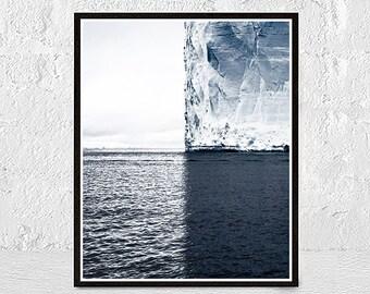 Ocean Print, Iceberg print, Ocean Waves Art, Ocean Wall Art, Ocean Photography Print, Large Modern Print, Ocean Art Print, Blue Wave Print
