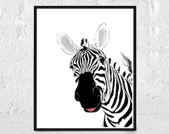 Zebra art, zebra print, black and white, Art Prints, Instant Download Printable, Zebra wall art, Print Art, animal wall art, animal print