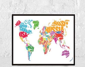 world map print, world map poster, world map, world map wall art, large world map, map of the world, instant download, travel poster