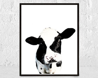 cow print, cow art, cow painting, animal print, cow wall art, cow art print, black and white,  farmhouse decor, nursery print, farm animals