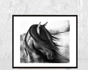 Horse Print, Black and White Photo, Wall Art Photography, Printable Large Poster, Icelandic Horse, Modern Minimalist, Digital Download
