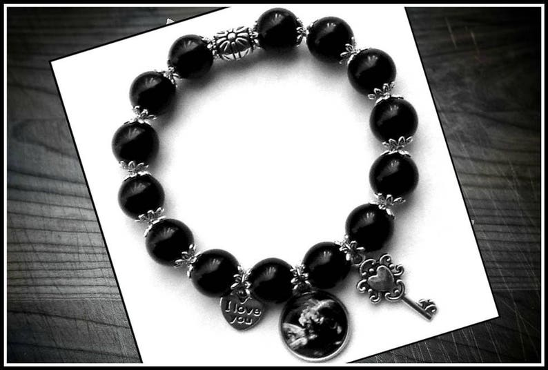 Black Silver Bead Baby Sonogram Ultrasound Photo Charm Stretch Bracelet Gifts For Maternity Mom Baby Shower Gift