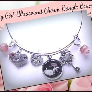 Ultrasound Jewelry Adjustable Charm Bangle Bracelet Sonogram Bracelet Ultrasound Charm Bracelet Mommy Bangle Sonogram Jewelry