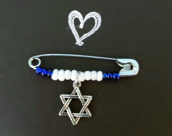 Safety Pin Jewelry, Safety Pin Brooch, Solidarity Pin, Star of David Safety Pin, Beaded Safety Pin, Jewish Safety Pin, Blue White Safety Pin