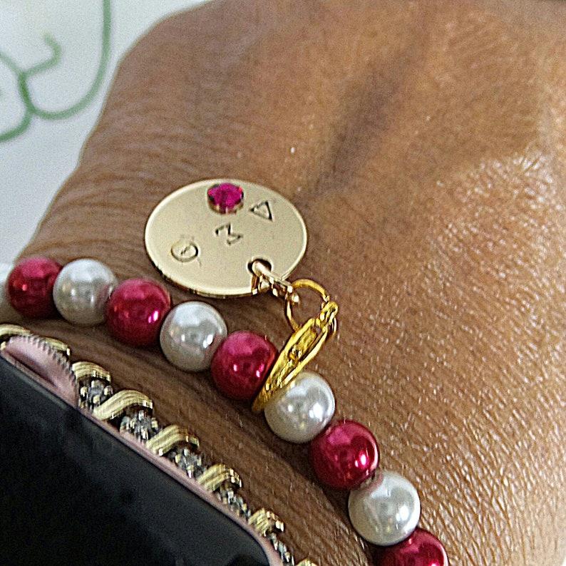 Greek Letter Charm, Hand Stamped Charm Sorority Bracelet Beaded Bracelet Delta Sigma Theta Sorority Charm Bracelet DST Charm