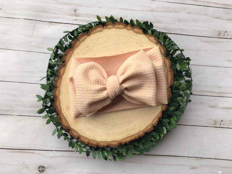 Stretchy Nude Waffle Head wrap Big Bows for Girls Infant Baby Bows Fall Bows Little Girl Bows Headbands /& Turbans