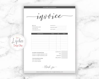 printable invoice template 85x11 editable minimalist script photography business invoice microsoft word template instant download