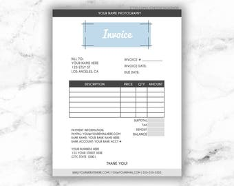 minimalist modern editable invoice template 85x11 printable photography business invoice photoshop template psd instant download