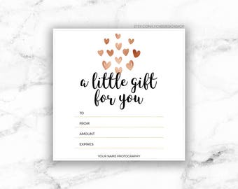 Printable Rose Gold Hearts Gift Certificate template | Editable Gift Card Design | Microsoft Word & Photoshop template DOCX DOC PSD