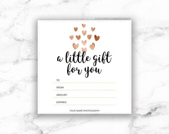 Printable Rose Gold Hearts Gift Certificate Template | Editable Gift Card  Design | Microsoft Word U0026 Photoshop Template DOCX DOC PSD