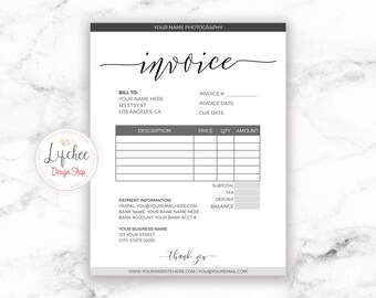invoice template etsy
