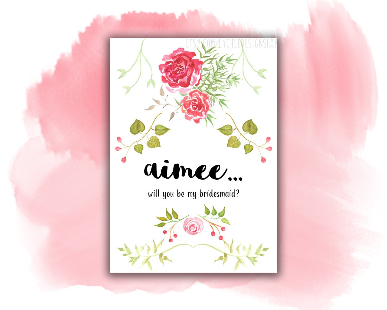 Will You Be My Bridesmaid Card Digital Template Will You Be Etsy