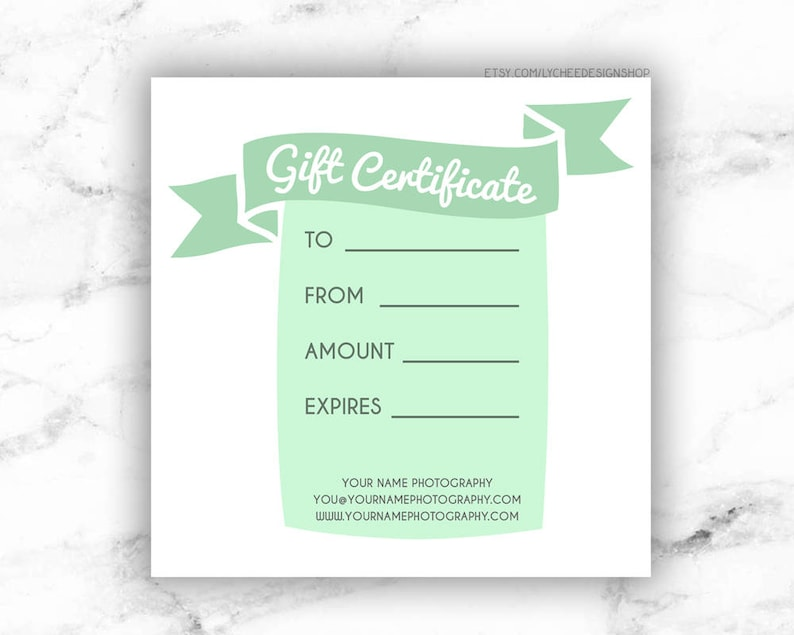 Printable Gift Certificate Template Editable Photography Etsy