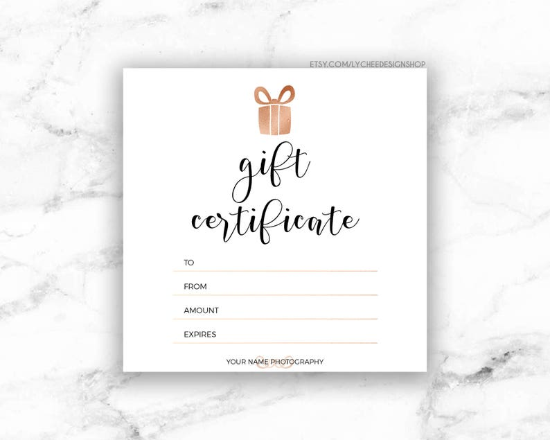 Printable Rose Gold Gift Certificate Template  Editable image 0