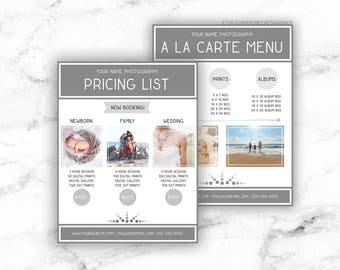 Minimalist Editable Photography Pricing List Template 8.5x11 | Printable Price List Pricing Guide Photoshop template PSD | INSTANT DOWNLOAD