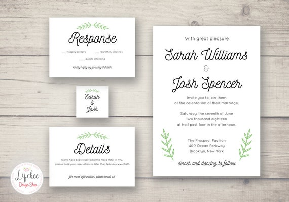Minimalist Printable Leaves Wedding Invitation Card Template Set Editable Wedding Invite Photoshop Template Psd Instant Download
