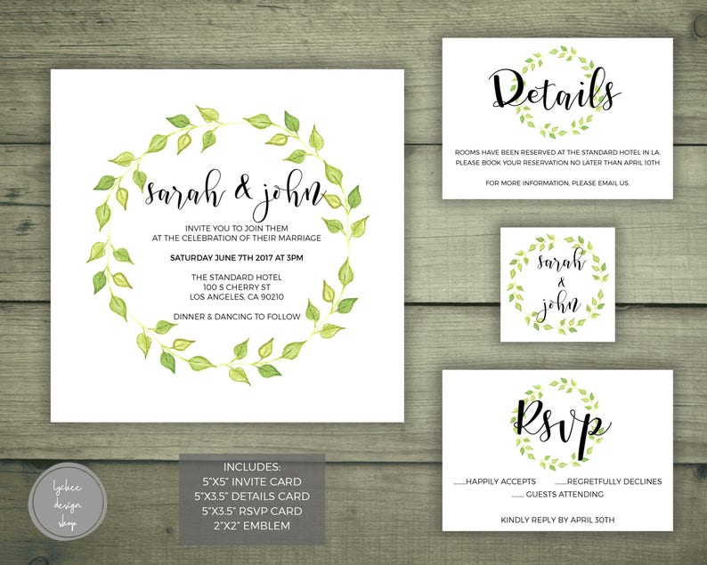 Printable Watercolor Leaves Wedding Invitation Card Template Set
