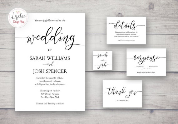 Printable Wedding Invitation Template Set Script Lettering Etsy