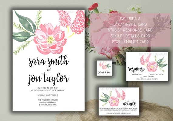 Printable Wedding Invitation Card Template Set Editable Watercolor Flowers Wedding Invite Photoshop Template Psd Instant Download