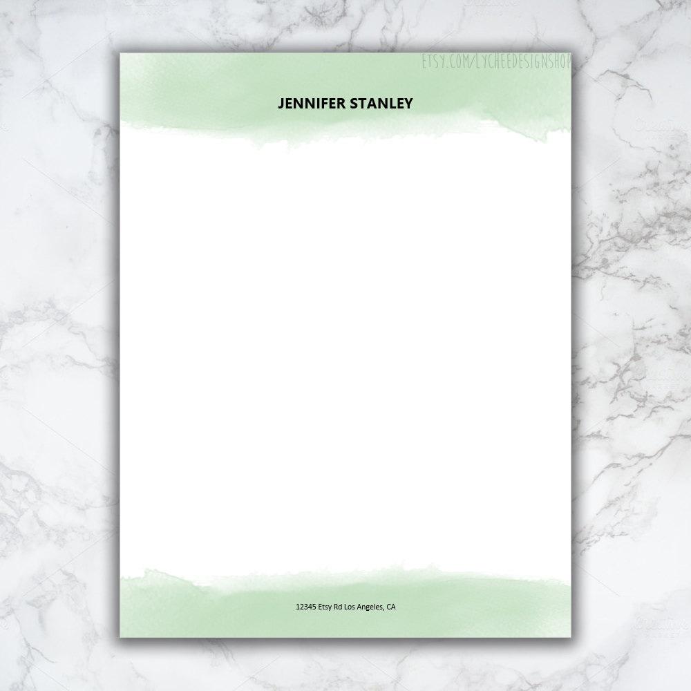 Clean Corporate Letterhead Template: Watercolor Letterhead Design Digital Template Pre-made