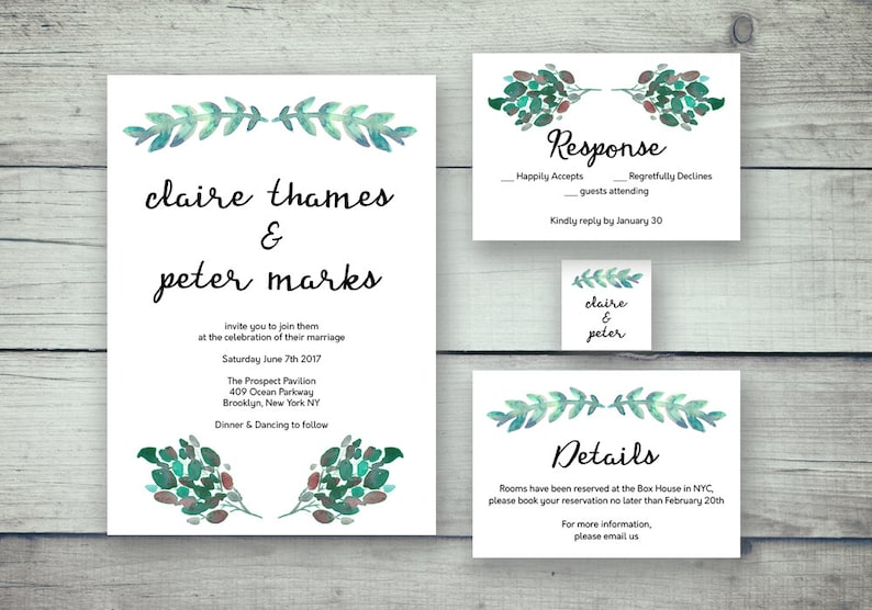 Printable Wedding Invitation Card Template Set Editable Watercolor Leaves Wedding Invite Photoshop Template Psd Instant Download