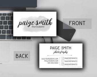 Watercolor Business Card Template 3.5x2   Printable Business Card Design   Photoshop Template PSD   INSTANT DOWNLOAD