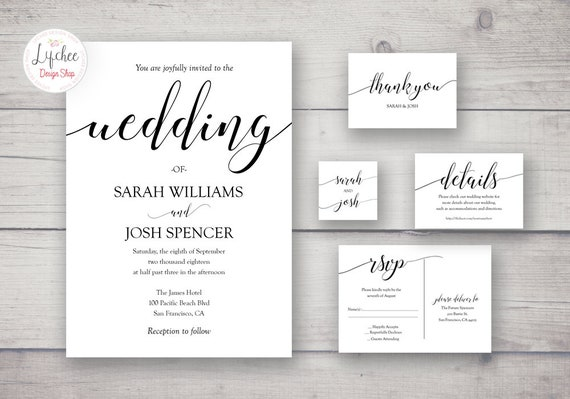 Vintage Playbill Wedding Invitation Template Suite Elegant Calligraphy Wedding Invitation Set Printable Wedding Invite Suite Templett