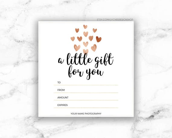 Printable Rose Gold Hearts Gift Certificate Template Etsy