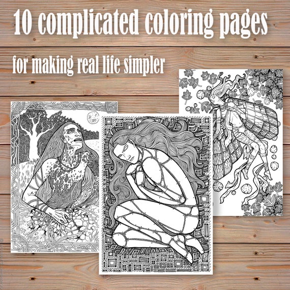Coloring Book Coloring Pages Print On Paper Romantic Dark Fantasy Black And White Necrofilia Gothic