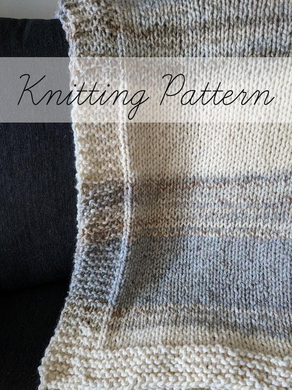 Knitting Pattern Neutral Throw Blanket Pattern Beginner Etsy
