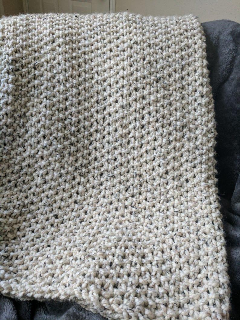 Knitting Pattern Seed Stitch Throw Blanket Pattern Beginner Etsy