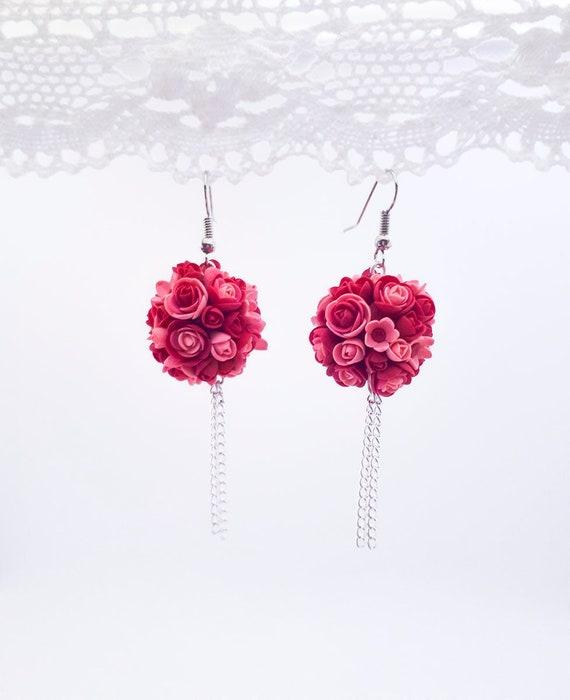 Long floral earrings Myosotis earrings Chandelier forget me not Earrings chandelier earrings myosotis hanging hanging long earrings