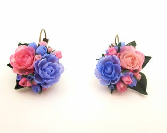 Romantique earrings  made from polymer clay. Perfect gift for her ! Valentine's day gift!