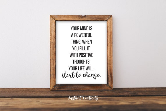 Inspirational Wall Art Print Quote Your Mind Is A Powerful Etsy