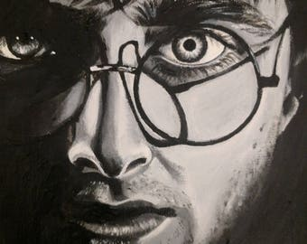 Original Monochrome Painting of Harry Potter (Daniel Radcliffe) on Canvas board