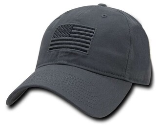 Grey USA American Flag Patch United States America Polo Baseball Cap Dad Hat 3c88a007d821