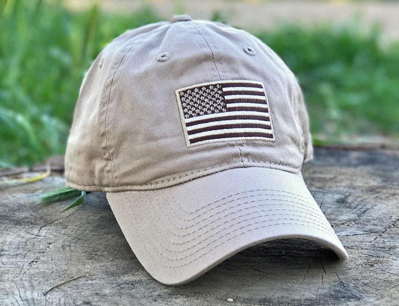 64af5de08bbcc Patriot Classic Army Desert Khaki USA American Flag Patriotic