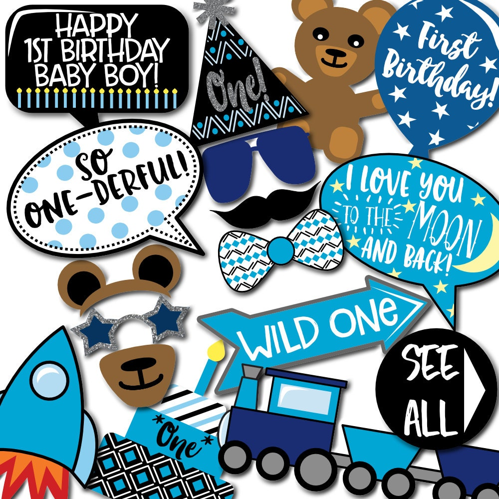 Boy's 1st Birthday Photo Booth Props 31 Printable Props