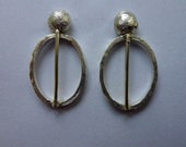 silver earrings hammered ...