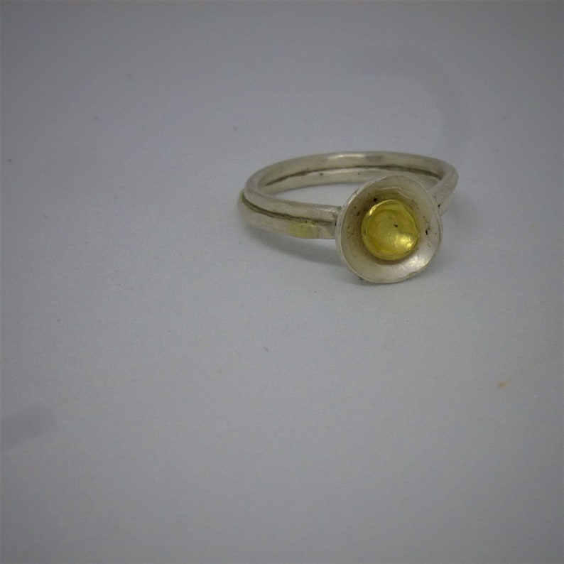 silver ring FLORES and 18ct gold cup image 0