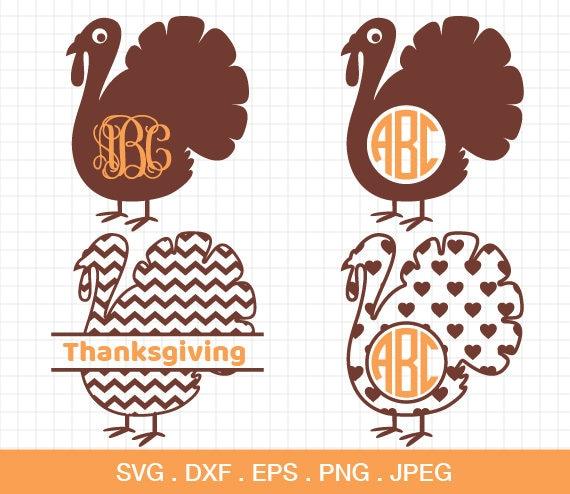 Turkey Svg Turkey Monogram Frames Svg Thanksgiving Svg Etsy
